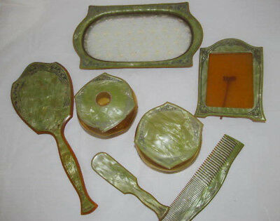 7pc Antique Celluloid Vanity Set~Perfume Tray w/French Lace~Frame~2 Jars~Mirror