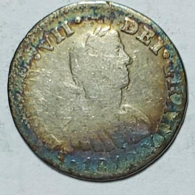 Mexico, 1/2 Real, 1812MoHJ, Toned Good, .0491 Ounce Silver