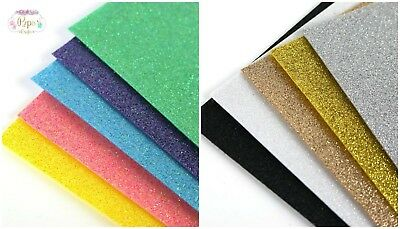 Quality A4 Sparkly Glitter Felt Multi Pack - 5 Sheets Brights or Metallics Craft