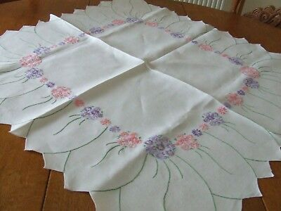 Vintage White Linen Hand Embroidered Table Cloth with Scalloped Edge.