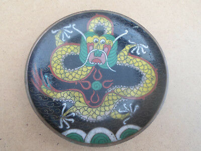 Antique Chinese Cloisonne Pin Dish with 5 Clawed Dragon Design