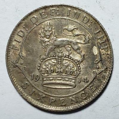 Great Britain, 6 Pence, 1914, Toned Extra Fine, .0841 Ounce Silver