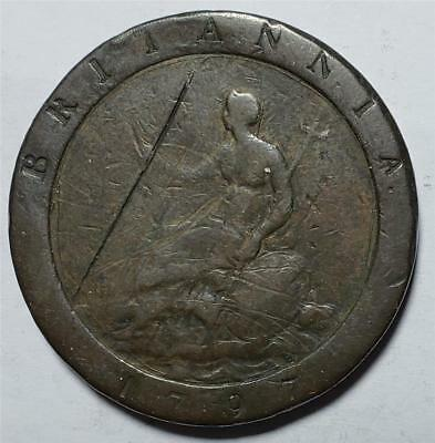 Great Britain, One Penny Cartwheel, 1797, Good, Scratches, Dig, Copper