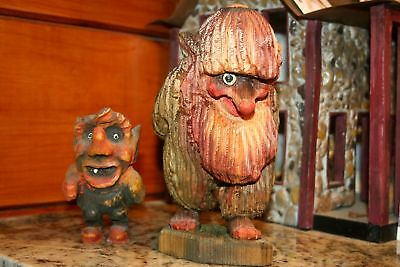 2 BEAUTIFUL VINTAGE HENNING ? NORWAY TROLL Gnome WOOD HAND CARVED FIGURE NO RES!
