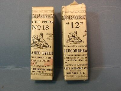 Humphreys Homeopathic Medicines # 12 Leucorrhea and #18 Inflamed Eyelids