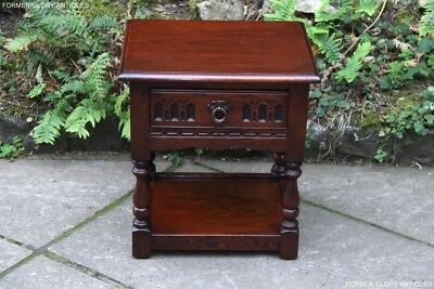 Old Charm Tudor Oak Lamp Table Wine Coffee Book Lamp Plant Stand Bedside Cabinet