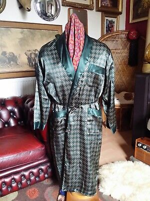 Classic Giani Peroti Green Polyester Smoking Jacket House Coat Host Gown.Large