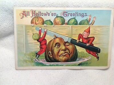 Embossed Halloween Post Card-Elf Slicing Pumpkin With Other Pumpkins-Saxony
