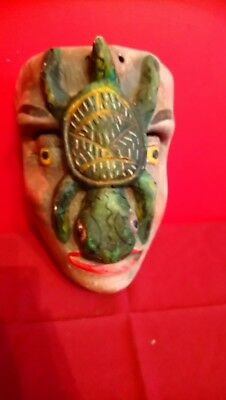 Antique Mexican Tribal Art Hand Carved Symbolic Turtle Mask