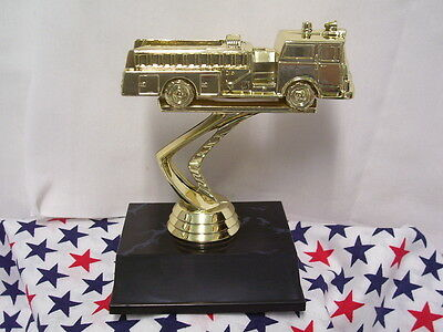 Firetruck Trophy On Black Base  Personalized