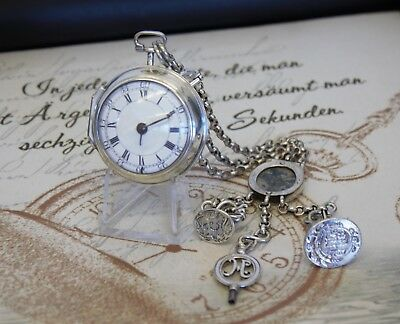 Rare Snow London Spindel Taschenuhr Petschaft 1753 pair case verge pocket watch