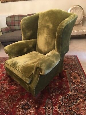 Immaculate Duresta Devonshire olive Chenille wingback chair armchair rrp £2650