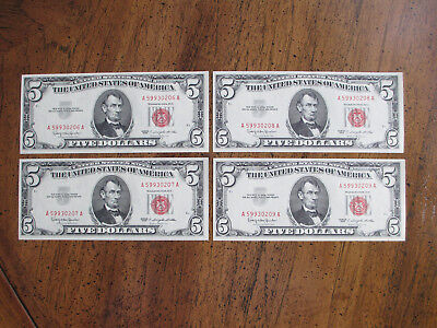 Lot of 4 1963 $5 Dollar Red Seal SEQUENTIAL – NEAR MINT COND – WOW!