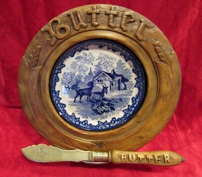Antique Butter Dish with Marked Knife ~ Blue Willow Insert ~ Carved Wood Handle