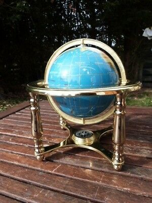 Vintage Desk Table Top Brass & Semi Precious Stone Globe & Compass On Stand.