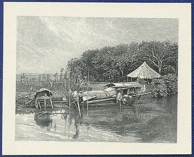 AMERICAN BANK NOTE Co. ENGRAVING: 236a BOAT ON RIVER IN CHINA
