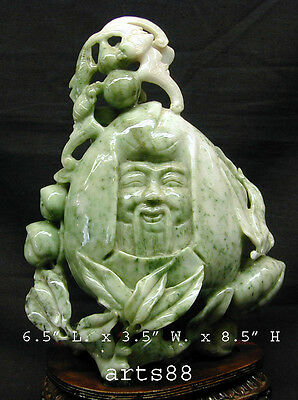 Hand Carved Precious Green and White Jade Stone GOD of Longevity - Long Life