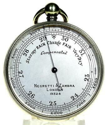 Polished brass English pocket aneroid barometer fully working