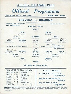 Chelsea v Reading War Cup South 1942/43 - Single sheet