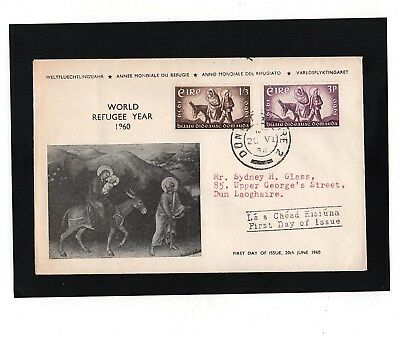 Ireland - 1960 - World Refugee Year - First Day Cover - With Dun Laoghaire Cds