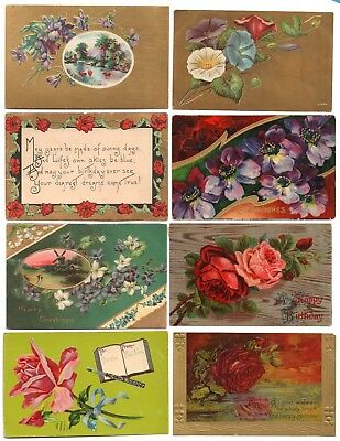 Lot of 8 Antique Greeting Postcards- Birthday Best Wishes Flowers Floral