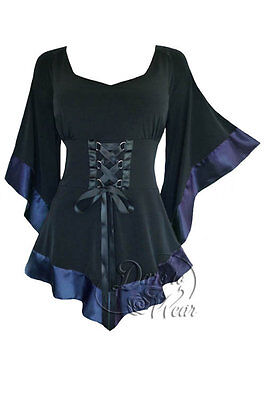 Dare To Wear Victorian Gothic Boho Womens Treasure Corset Top Black Navy Blue 2X