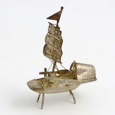 Chinese Silver Miniature Model Of A Fishing Boat, 19Th Century