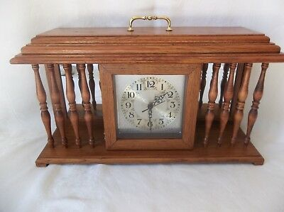 Large Heavy Wooden Mantel / Shelf Clock  Oak Quartz Movement Keeps Perfect Time