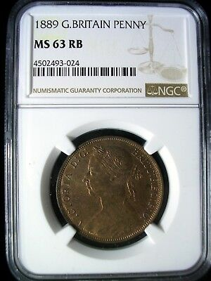 Great Britain 1889 Penny *NGC MS-63 RB* Scarce in Red Brown Looks Great