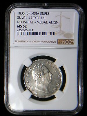 British East India Company 1835 (b) Rupee *NGC MS-62* Only 11 Graded Higher