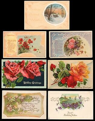 7 Antique Greeting Postcards- Best Birthday Wishes Floral Scenic