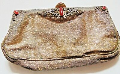 Antique Edwardian Gold Thread Purse With Gilt Metal & Carnelian Glass Clasp