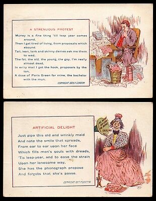 Antique 1909 Postcards by P Cordon / ARTIFICIAL DELIGHT & STRENUOUS PROTEST
