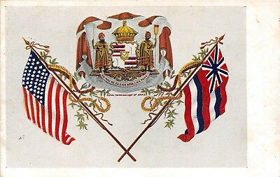 LP79  Hawaii Wall Nichols Co. Postcard Royal Coat of Arms Flags