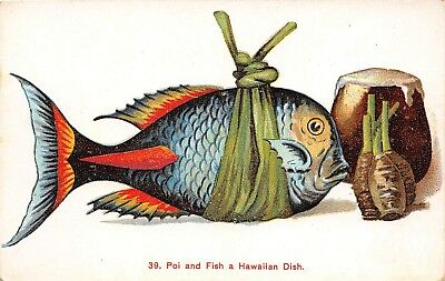 LP65 Hawaii Postcard PMC Island Curio Fish and Poi