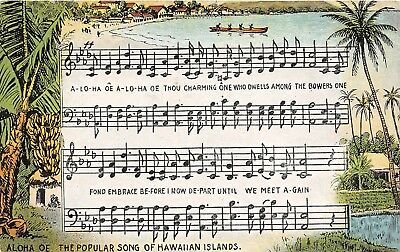 LP68 Song Aloha Hawaii Postcard Island Curio Co.,