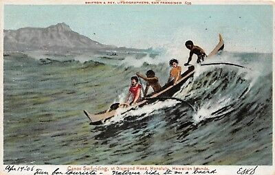 LP83 Hawaii Outrigger Canoe Surf Riding Postcard