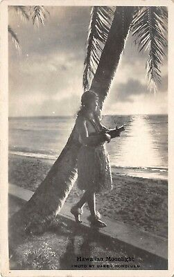 LP21 Hula Girl Baker Photo Hawaii Hawaiian Islands RPPC Old Postcard Moonlight