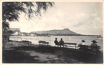LP31 Waikiki Beach Hawaii  Hawaiian Islands RPPC  Vintage Postcard