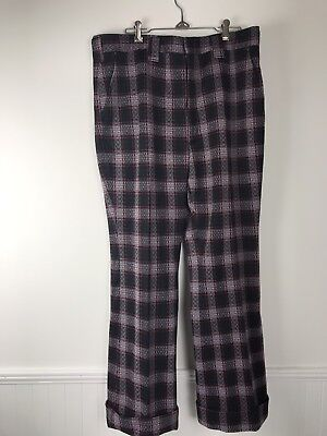 70s Vintage Mens Haggar Pants Black & Red Plaid Double Knit Cuffed Leg 36 x 31