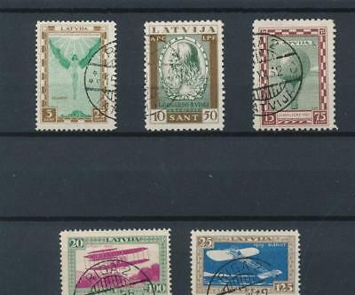35712 Latvia 1932 Good Airmail Set Very Fine Used Stamps Value 115