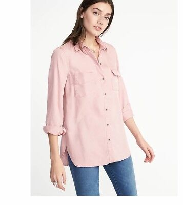 d5386109fa7 Womens Old Navy Tencel L S utility relaxed fit pink shirt size large  35 tag