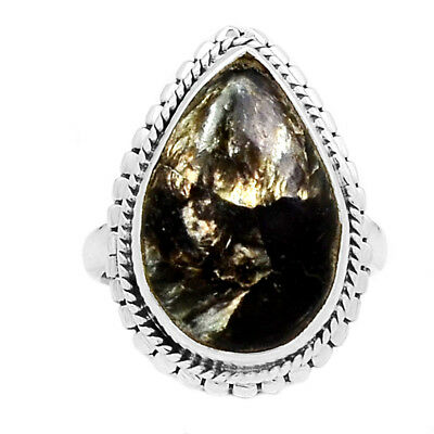 Rare Black Golden Seraphinite From Serbia 925 Silver Ring Jewelry s.6 RR210409