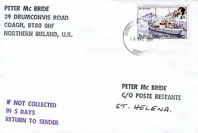 British Antarctic Territory 2005 cover to be collected at St Helena