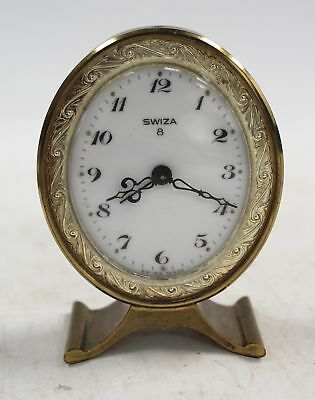 Vintage Miniature SWIZA 8 Day Oval Brass DESK CLOCK - Spares & Repairs - D38