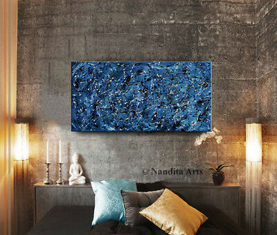 MODERN ART Blue Acrylic ABSTRACT Wall Art Painting on Canvas by Nandita Albright