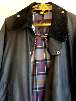 Men's Barbour Beaufort Black Waxed Jacket Size 42..nice!   FREE SHIPPING