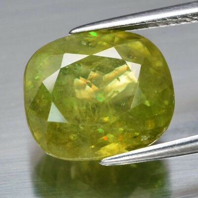 6.60ct 11.8x10.6mm Cushion Natural Yellowish Green Sphene, Super Sparkles