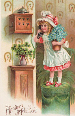 DARLING GIRL ~ EARLY TELEPHONE Blue Flower Plant HEARTY CONGRATULATIONS 1912 PC