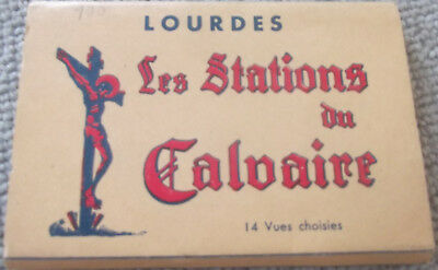 Rare, Vintage Postcard Set From 1958 - Lourdes Stations Of The Cross - 14 Cards